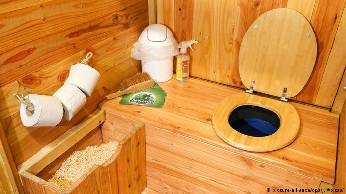 A wooden toilet