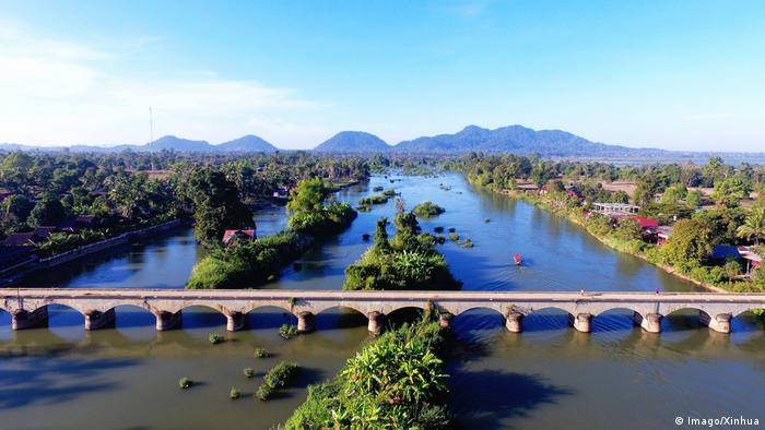 Wide shot of the Mekong in Laos