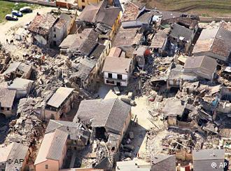 An aerial view of the destruction in the city of L'Aquila, central Italy, Monday, April 6, 2009.