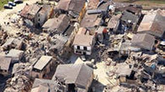 aerial view of the destruction in the city of L'Aquila
