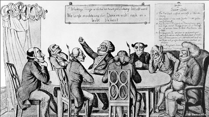 A caricature from 1820 entitled The Thinkers' Club shows a group of intellectuals with gagged mouths (Gemeinfrei)