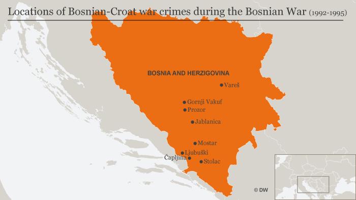 Locations of Bosnien-Croat war crimes during the Bosnian War (1992-1995)