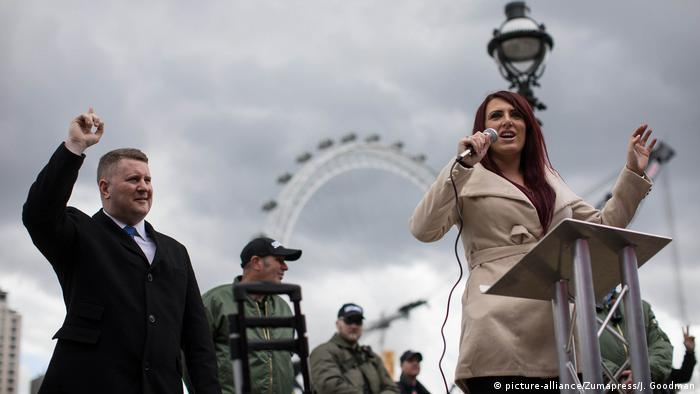 Britain First's leader Paul Goldin (left) and deputy leader Jayda Fransen (right) have been to court for their fiery speeches against Islam and migration