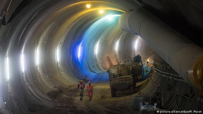 A huge underground tunnel being built for the German rail project called Stuttgart 21