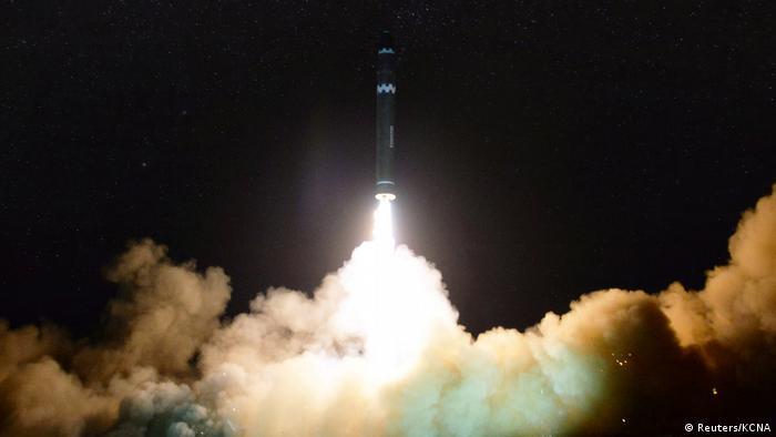 North Korean Intercontinental Ballistic Missile takes off.