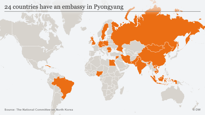 Map showing the 24 countries with embassies in Pyongyang ENG