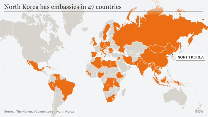 Karte Infografik North Korea has embassies in 47 countries ENG