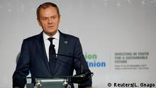 30.11.2017*** European Council President Donald Tusk speaks during a news conference at the closing session of the 5th African Union - European Union (AU-EU) summit in Abidjan, Ivory Coast November 30, 2017. REUTERS/Luc Gnago