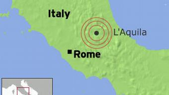 A map showing the epicenter of Monday's deadly quake at the central Italian town of L'Aquila