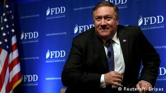 Mike Pompeo speaking in October, 2017 at the Foundation for Defense of Democracies, a pro-Israel, anti-Iran think tank in DC (Reuters/Y. Gripas)