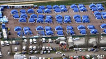 An aerial view of a tent-camp set up by the civil protection service on the outskirts of L'Aquila