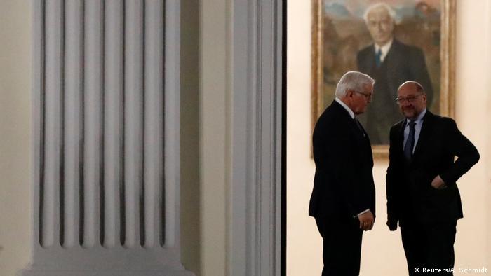 SPD leader Martin Schulz arrives for talks hosted by German President Frank-Walter Steinmeier with Chancellor Angela Merkel