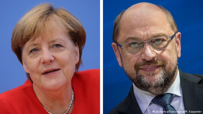 Combo Angela Merkel and Martin Schulz (picture-alliance/dpa/M. Kappeler)