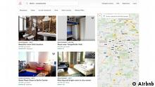 Screenshot der Website Airbnb