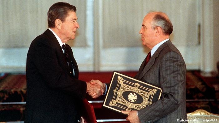 Ronald Reagan and Mikhail Gorbachev exchange ratified copies of the INF treaty