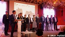 Auf dem Bild sind Vertreter der 4 deutschen und 4 ukrainischen Städte, die ein gemeinsames Projekt zu Städteentwicklung haben. Copyright: V. Prykhid, Korrespondentin in Lwiw (Lemberg).