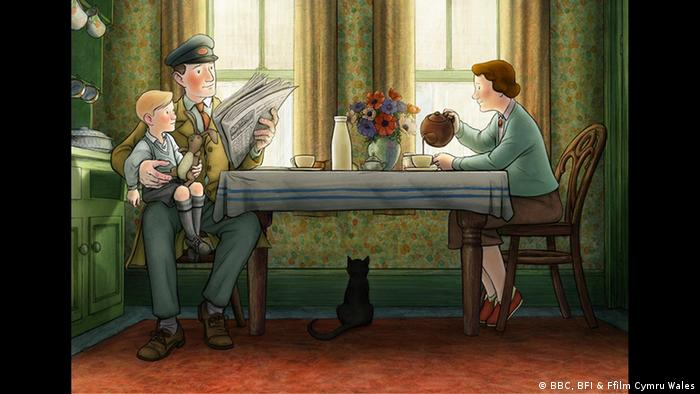 Scene from the animation film Ethel & Ernest with a family having coffee at a table (BBC, BFI & Ffilm Cymru Wales)
