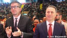 Mazedonien Hristijan Mickoski, Generalsekretär der Oppositionspartei VMRO-DPMNE mit Parteiführer Nikola Gruevski