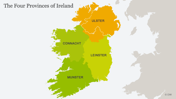 A map showing Ireland's provinces