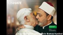 epa03005726 A handout picture showing Pope Benedict XVI and Ahmed Mohamed el-Tayeb, Imam of the Al-Azhar Mosque in Cairo kissing as part of the Benetton's new advertising campaign entitled 'Unhate' premiered in Paris on 16 November 2011. The campaign have already raised controversy, in particular among catholics. EPA/UFFICIO STAMPA HANDOUT HANDOUT EDITORIAL USE ONLY/NO SALES +++(c) dpa - Bildfunk+++  