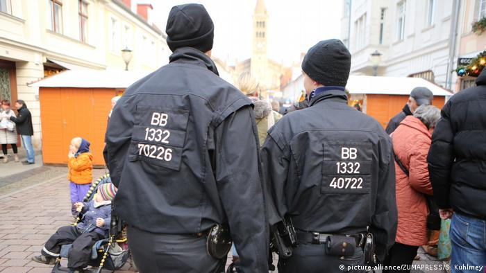 Police watching over a Christmas market in Berlin