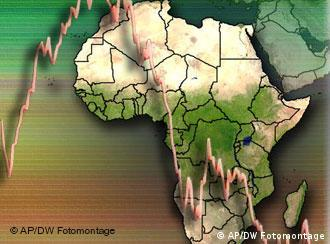 graphic of africa with financial curve