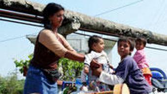 Roma-Familie in Fier, Albanien