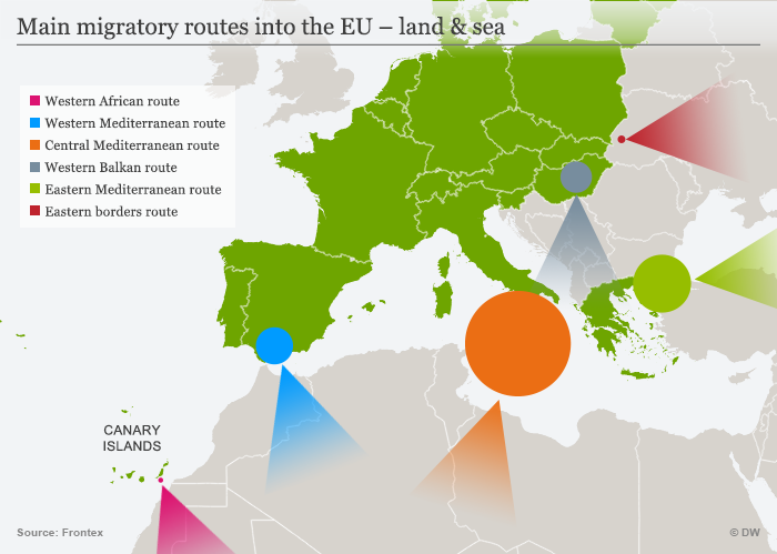 Main migratory routes into the EU – land and sea