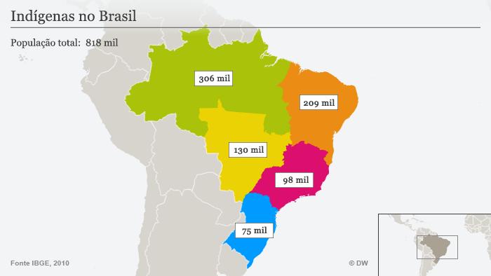 Infográfico sobre indígenas no Brasil