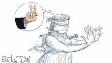 Karikatur - Femida zeigt 10 mit Fingern. Über ihren Kopf - zwei Finger in V-Zeichen: so habe Uljukajew angeblich das Bestechungsgeld in Höhe von 2 Millionen Dollar vom Rosneft Setschin gefordert. Copyright: Sergey Elkin