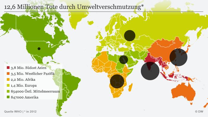 Infografik Karte 12,6 Millionen Tote durch Umweltverschmutzung*