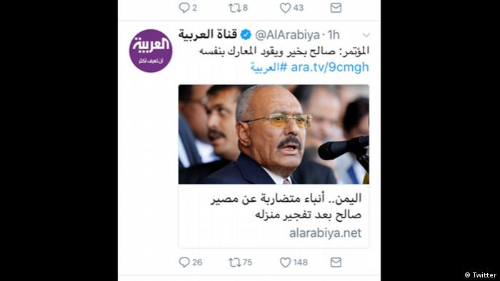 Screenshot von Twitter - Al-Arabiya