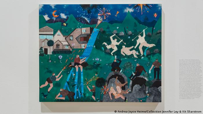 A colorful painting mainly in different shades of green, on which people fight against each other with spears. (Andrea Joyce Heimer/Collection Jennifer Ley & Kit Skarstrom)