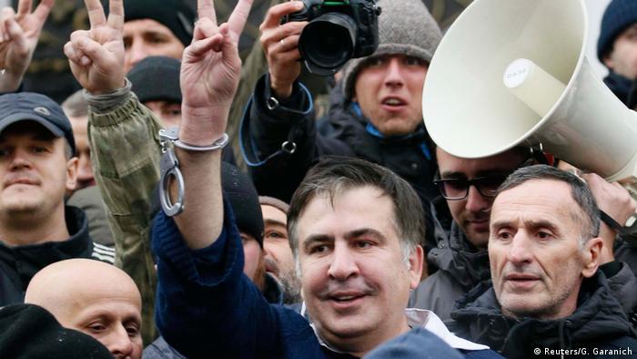 Ukraine Michail Saakaschwili nach seiner Befreiung aus Polizeigewahrsam