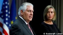U.S. Secretary of State Rex Tillerson and European Union foreign policy chief Federica Mogherini address a joint news conference at the European Council in Brussels, Belgium, December 5, 2017. REUTERS/Francois Lenoir TPX IMAGES OF THE DAY