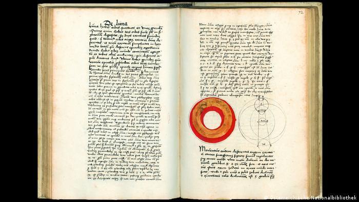 A page from Austrian astronomer the Georg von Peuerbach (1423-1461) text Theoricae novae planetarum. Martin Gropius Bau