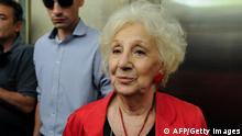 Estela de Carlotto President of Grandmothers (Abuelas) of Plaza de Mayo, is pictured before the sentencing hearing for crimes against humanity committed during the last military dictatorship in Argentina, at Comodoro Py federal courts, in Buenos Aires on November 29, 2017. A total of 52 soldiers and two civilians were sentenced on Wednesday in Argentina, for the so-called 'death flights' and other crimes commited in the torture center ESMA (Escuela de Mecanicos de la Armada) during the military dictatorship (1976-83). / AFP PHOTO / Javier Gonzalez Toledo (Photo credit should read JAVIER GONZALEZ TOLEDO/AFP/Getty Images)