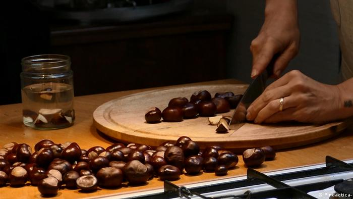 Photo: Slicing chestnuts