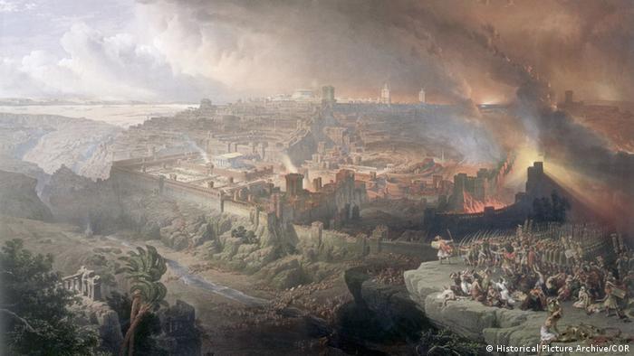 Gravura mostra Jerusalém em chamas