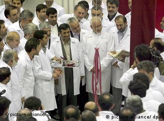 Iranian President Mahmoud Ahmadinejad at the nuclear plant in Isfahan