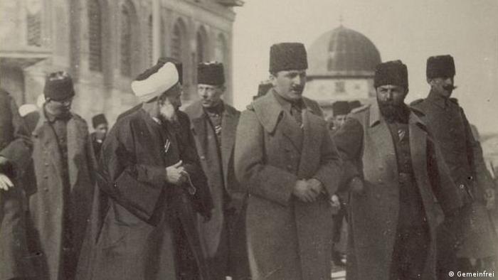 Guerreiros otomanos Cemal e Enver em Jerusalém