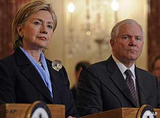 Secretary of State Hillary Clinton,and Secretary of Defense Robert Gates during a news conference at the State Department in Washington 2009