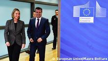 Belgien mazedonischer Ministerpräsident Zoran Zaev und EU-Außenbeauftragte Federica Mogherini