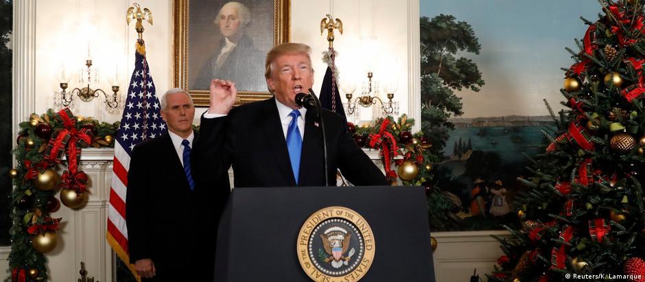 Na Casa Branca, Trump anunciou transferência da embaixada americana de Tel Aviv para Jerusalém