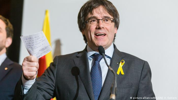 Carles Puigdemont at the press conference
