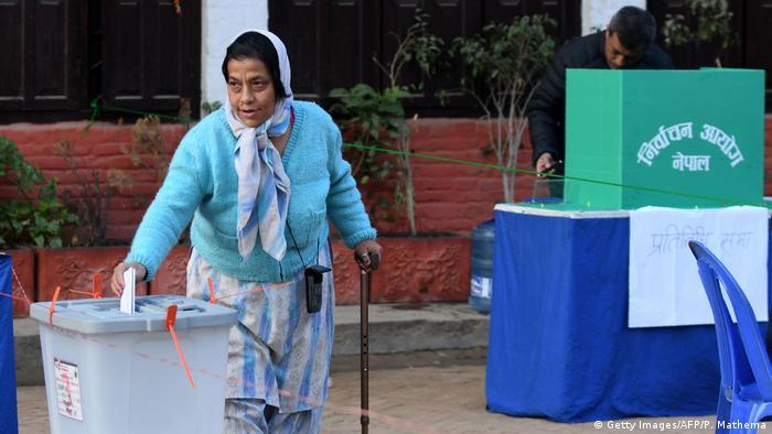 Woman casting her vote in Kathmandu, Nepal