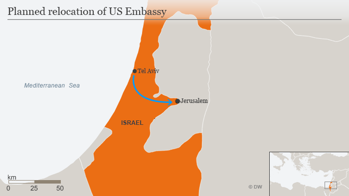 A map of Israel showing the planned relocation of the US Embassy