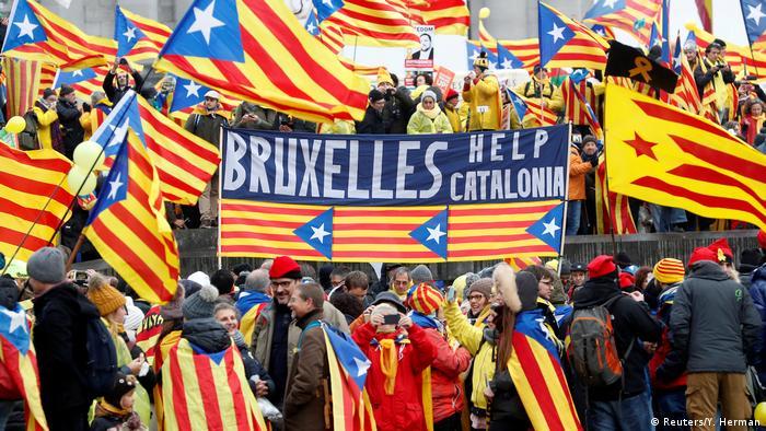 Демонстрация сторонников независимости Каталонии в Брюсселе
