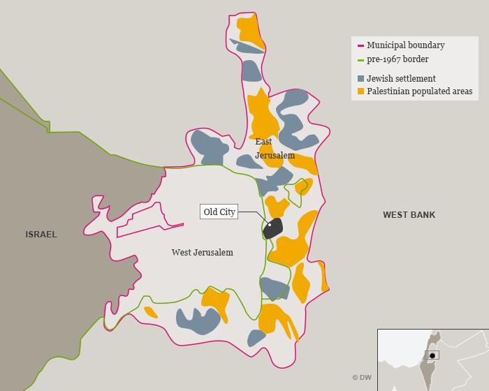 Peta sebaran populasi Yahudi dan Palestina di Yerusalem.