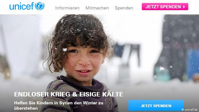 Screenshot UNICEF Spendenaktion (Foto: unicef.de)